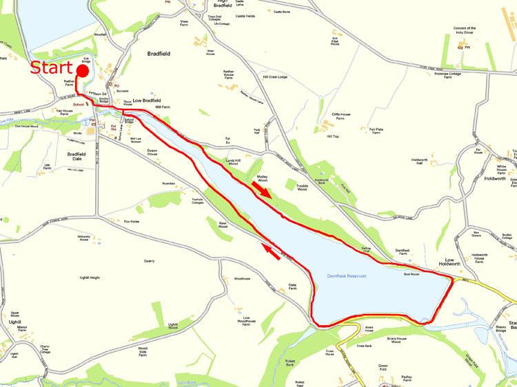 Damflask walk map