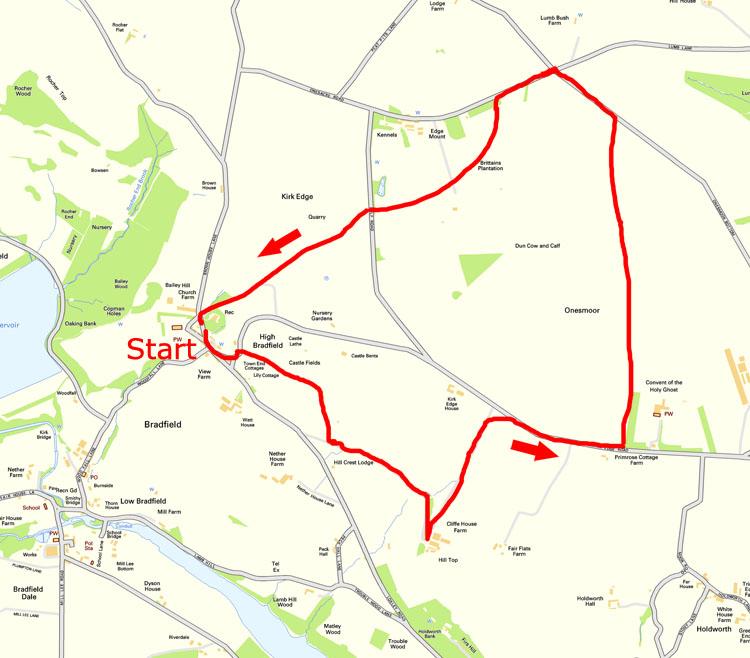 Onesmoor walk map