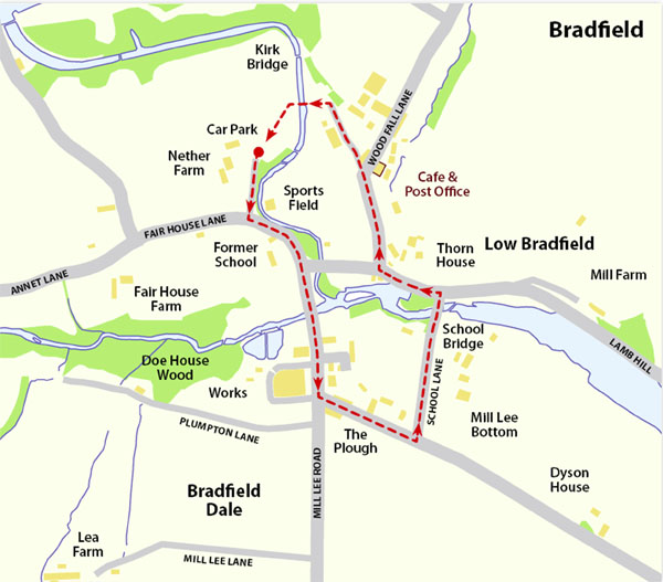 Low Bradfield walk map